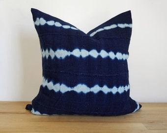 Authentic Indigo Mudcloth Pillow Cover, Shibori, Dark Indigo/White Tie-dye