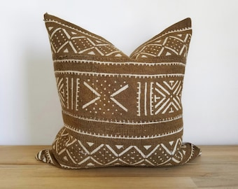 Authentic Mudcloth Pillow Cover, 20x20, Caramel Brown, Brown, Burnt Sienna, Sienna, Off-White, White, Cream, Multi-Symbol, Geometric