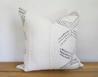 Authentic Mudcloth Pillow, Off-White/Cream, Light Grey, Silver,  Large X Design