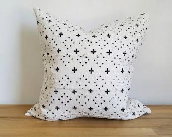 Mudcloth Pillow Cover, Off-White/Cream, Small Plus, Cross, Dots, Diamond, Geometric