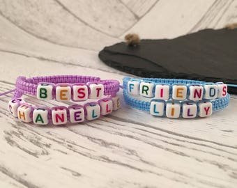 Personalised Friendship Bracelets, Kids Name Bracelet, Personalised Kids Bracelet, Personalised Band, Macrame Jewellery, Best Friend Gift