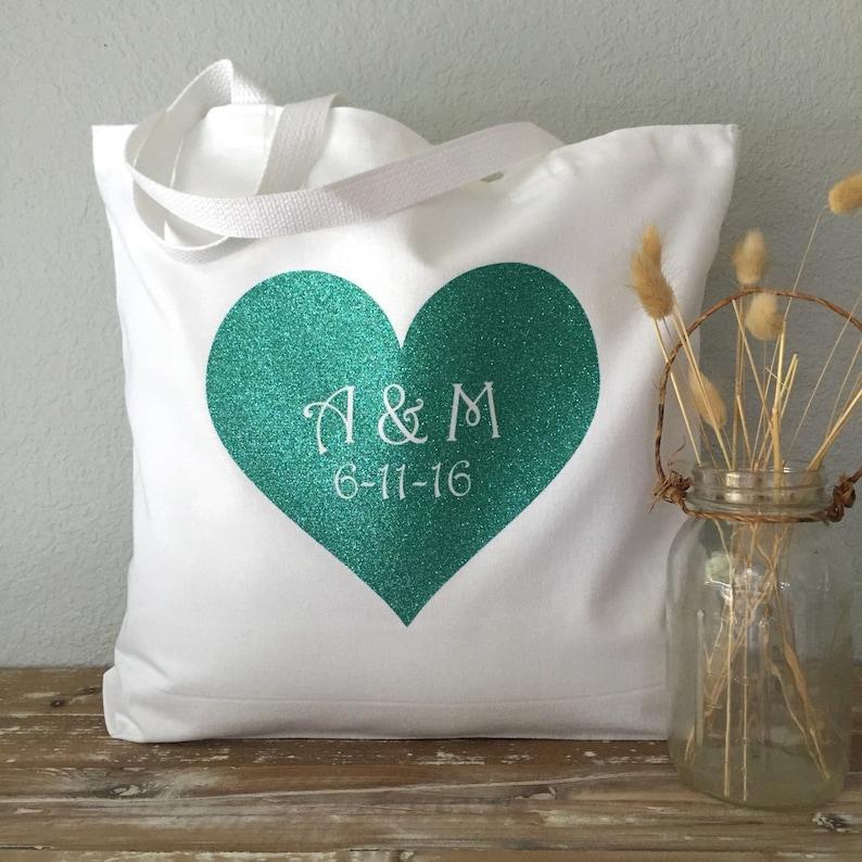 Heart Monogram Tote beach bag grocery bag or bridesmaids gift bag purse