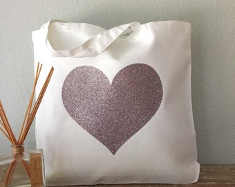 Heart Canvas Tote Bag - purse, beach bag, grocery bag or bridesmaids gift bag