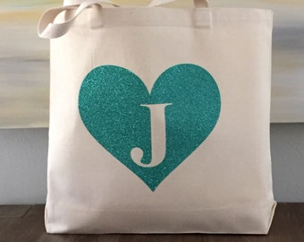 Heart Monogram Tote - beach wedding tote, bridesmaid tote