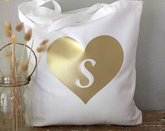 Champagne Heart Monogram Tote - bridesmaid tote, bride tote, wedding party tote