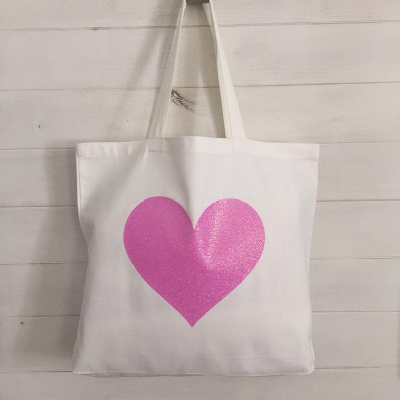 Pink Heart Canvas Tote Bag purse beach bag grocery bag or bridesmaids gift bag