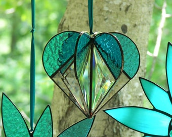 Stained Glass  Heart Turquoise, Stained glass suncatcher, Heart Ornament,Bevel Heart, Turquoise Heart, Heart Suncatcher, Wedding Gift