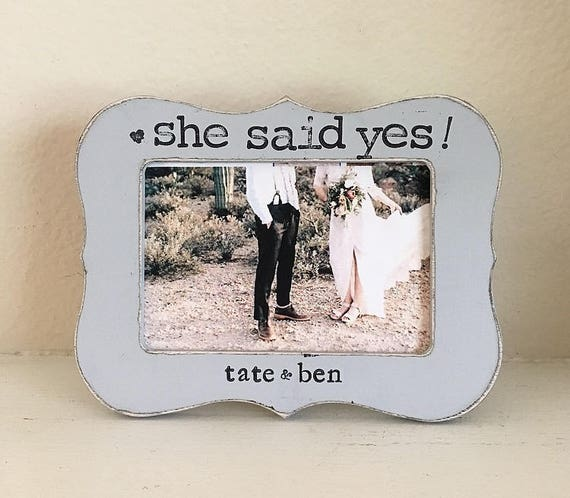 Engagement picture frame gift She said yes personalized picture ...