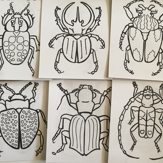 LIBRE nos envío un Mini escarabajo para colorear libro 3.67 | Etsy