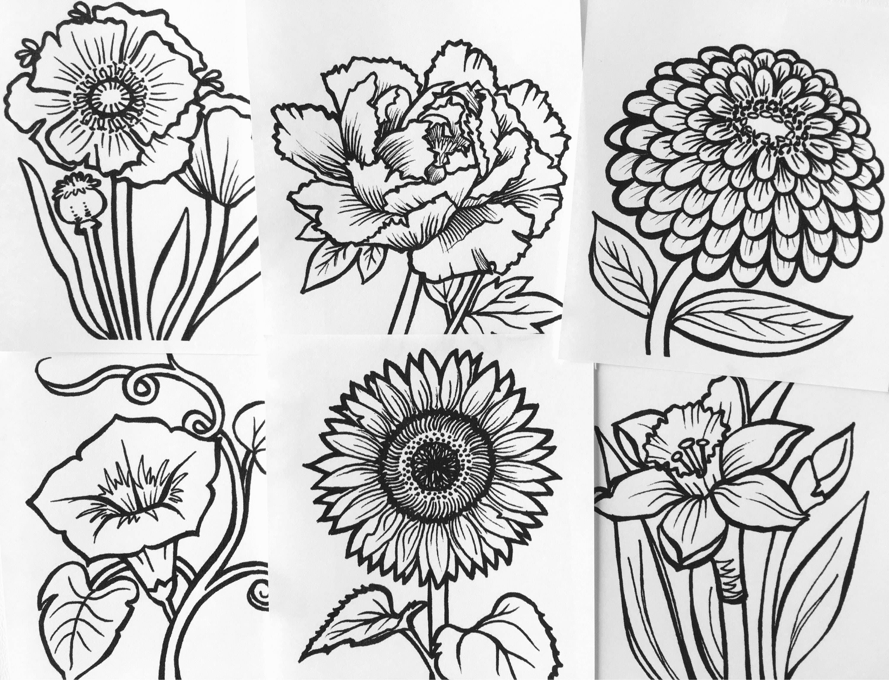 Set of 10 Mini Flower Coloring Books great for party favors | Etsy