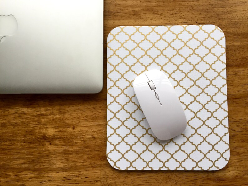 Gold Lattice Mouse Pad  cotton fabric surface image 0