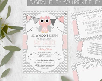 Owl baby shower etsy owl baby shower invitation girl owl shower pink and grey owl shower invite owl shower invitation pink owl shower digital invitation filmwisefo
