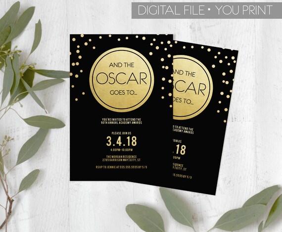 oscar party invitation 2018 oscar invitation academy awards etsy