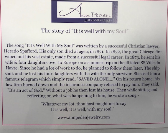 comes on a card with hymn history It is well with my soul handstamped faith inspirational keychain