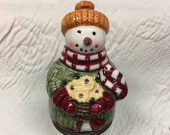 Snowman Hinged Box, Porcelain Snowman Box, Christmas Snowman, Porcelain Hinged Box, Porcelain Snowman Box, Snowman Decor, Snowman Box