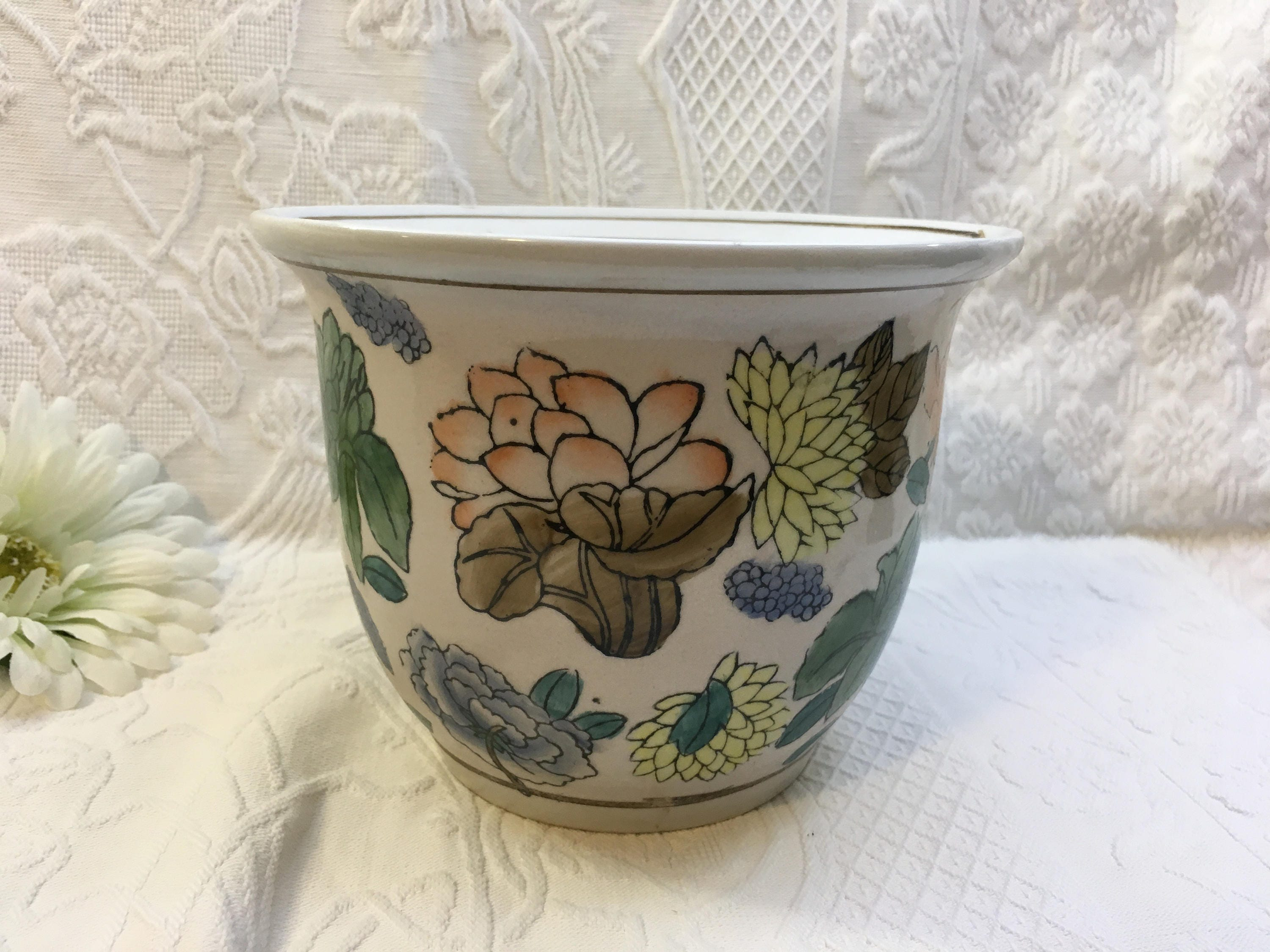 New England Pottery Multi Colored Floral On White Planter Pot Etsy