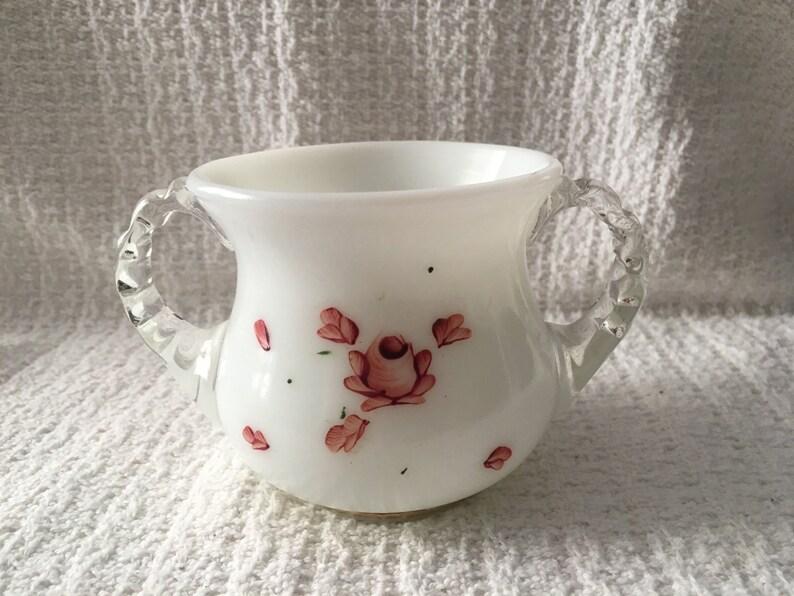 White Milk Glass Sugar Bowl Clear Applied Handles Rose Design Milk Glass Sugar Bowl Hand Painted