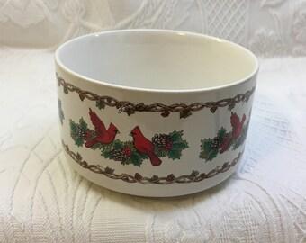 CMC Christmas Dish Bowl, 1990, Red Cardinals, Pinecones, Holly, Korea, Xmas Bowl