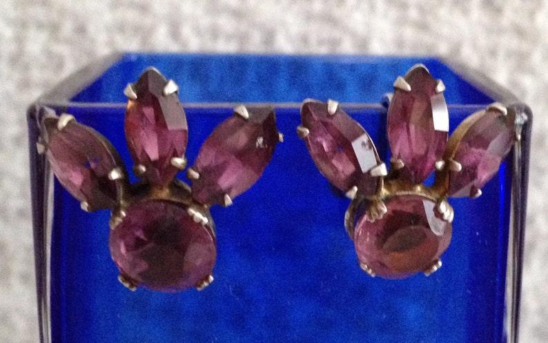 Art Deco 1930s 1940s Amethyst Earrings Sterling Silver Amethyst Screw Back Earrings Sterling Amethyst Earrings Screw Back