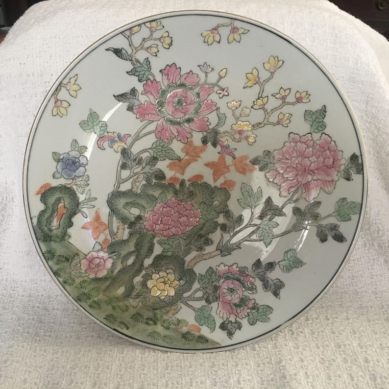 Asian Decor Floral on White Background Hand Painted Porcelain Floral Plate Embossed Floral Design