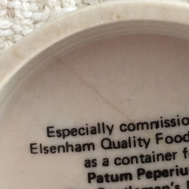 Elsenham Quality Foods Patum Peperium Gentleman's Relish Container, Grouse  Design, Beige with Birds Scene, Porcelain Container, England