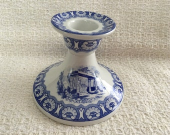 """Spode Blue Room Collection Candlestick, Ionian Pattern, 3"""" Candlestick, Cobalt Blue Scenes on White, Earthenware, England, 1996"""
