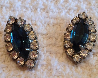 Rhinestone Earrings with Blue Rhinestone Center Surrounded by Clear Rhinestones, Rhinestone Stud Earrings, Rhinestone Pierced Earrings