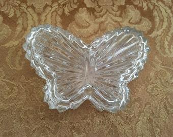 Glass Butterfly Trinket Box, Pressed Glass Butterfly Box, Glass Butterfly, Glass Treasure Box