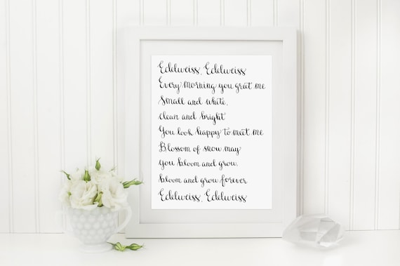 Edelweiss hand lettered art print 8 x 10 calligraphy print etsy m4hsunfo