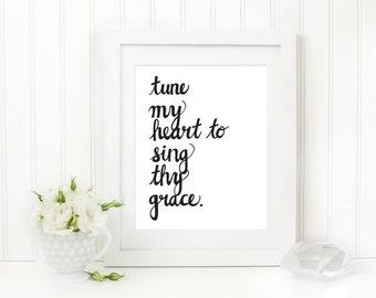 Come Thou Fount Hymn Art Print, Tune My Heart 8 x10