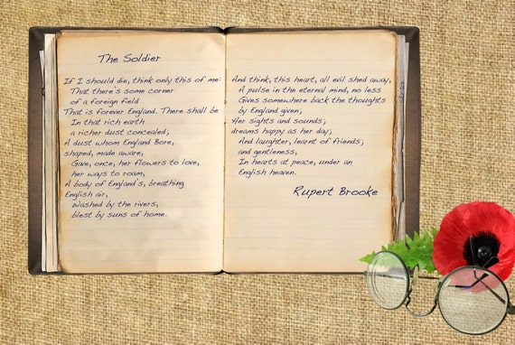 Rupert Brooke żołnierz Pierwszy Wiersz Wojny światowej A5a4 Papier Art Print