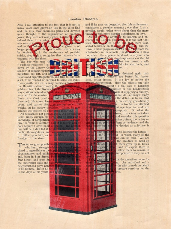 Mounted Antique Book page Art Print London Big Ben Dictionary Vintage Wall Art
