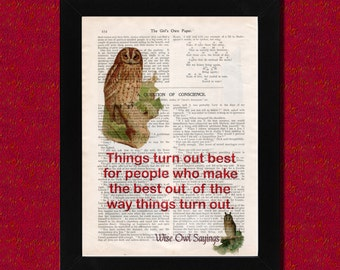 Owl and quote on vintage book page, Wise Owl Sayings 4, art print, Upcycled book page, wall decor