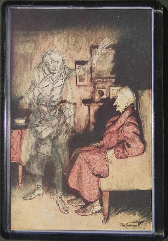 Fridge magnet Christmas Carol Scrooge 2 Dickens Arthur Rackham art retro  handcrafted acrylic