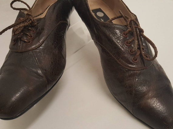 Size 8 Lace does 1990s Up Frogskin Brown Dark 1930s Vintage Oxfords Mules Leather 1980s Depression qpwOZZR