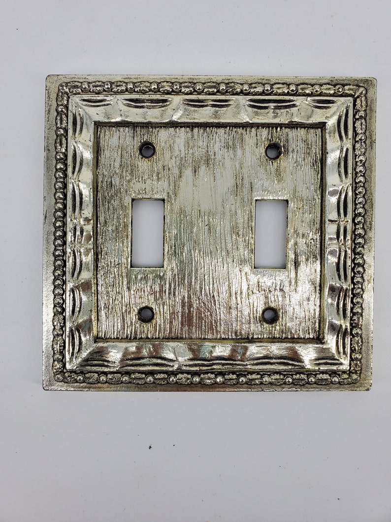 Hammered Pattern Switch cover Vintage Mid Century Brass Double Light Switch Plate Wall Cover Dilly Mfg Co