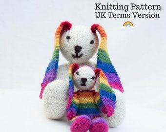 Rainbow Bunny Knitting Pattern (UK) Rainbow Rabbit Knitting Pattern Bunny Rabbit Knitting Knitted Toy Rabbit Toy Bunny Cuddly Rabbit Knit