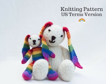Rainbow Bunny Knitting Pattern (US) Rabbit Knitting Pattern Knit Rabbit Knit Bunny Knitted Rabbit Toy Knitted Toy Bunny Rabbit Knitted