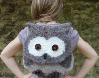 Knitting Pattern (UK) - Orla Owl - knitted & felted owl bag - child backpack - washing machine felted - easy knit pattern -INSTANT DOWNLOAD
