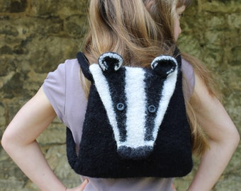 Knitting Pattern (US) for Boris - a felted badger bag.  Knitted in bulky yarn then felted in the washing machine. Backpack or shoulder bag