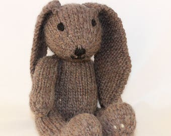 Knitting Pattern (UK) for Rebecca Rabbit - a sweet floppy knitted rabbit.  Worked in stocking stitch.  Knit flat or in the round