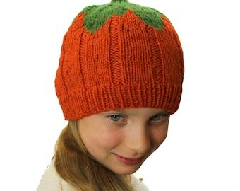 KNITTING PATTERN  Pumpkin Hat - UK Terms - Pumpkin Beanie Hat- Child ddfd32f4554