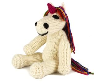 KNITTING PATTERN: Ulysses Unicorn Toy - UK Terms -  Rainbow Unicorn or Pony Knitting Pattern  - Instant pdf Download