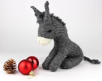 Knitting Pattern (UK terms) for Dan Donkey. A Waldorf-style toy donkey for a Christmas nativity scene or a cuddly toy. Instant pdf download.