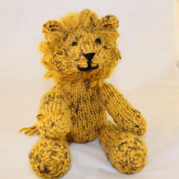 Knitting Pattern Us For Leonard Lion A Gorgeous Knitted Etsy