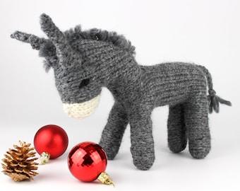 Knitting Pattern (US terms) Dan Donkey Waldorf-style toy donkey. Christmas nativity scene or as a stuffed animal. Detailed instructions.