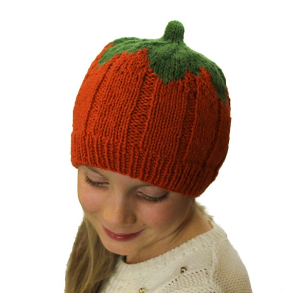 KNITTING PATTERN  Pumpkin Hat - US Terms - Fall Beanie - Child   Adult  Beanie Knitted Hat - Novelty Hat - Easy Knitting - Instant Download 18db892d435