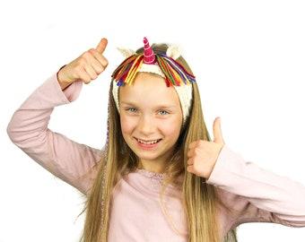 Knitting Pattern (US) for Ulysses Unicorn Headband. Cable knit kid's headband, ear warmer, dress up box. Easy, quick, fun knit, pdf download