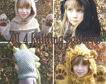 4 Knitting Patterns (UK) for Lion, Rabbit, Dinosaur & Bear Hood. Sizes baby to adult. Chunky yarn.  Helpful Patterns.  INSTANT DOWNLOAD