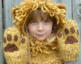 Knitting Pattern (UK). Lion Hat Hood & Mitten Paws. Sizes baby, children, adult. Chunky yarn. Quick + Easy. INSTANT DOWNLOAD